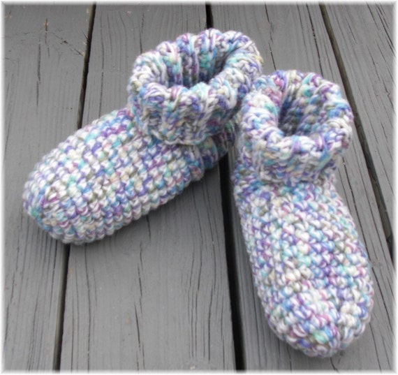Crochet Slipper Socks Booties Multi Color Size Large