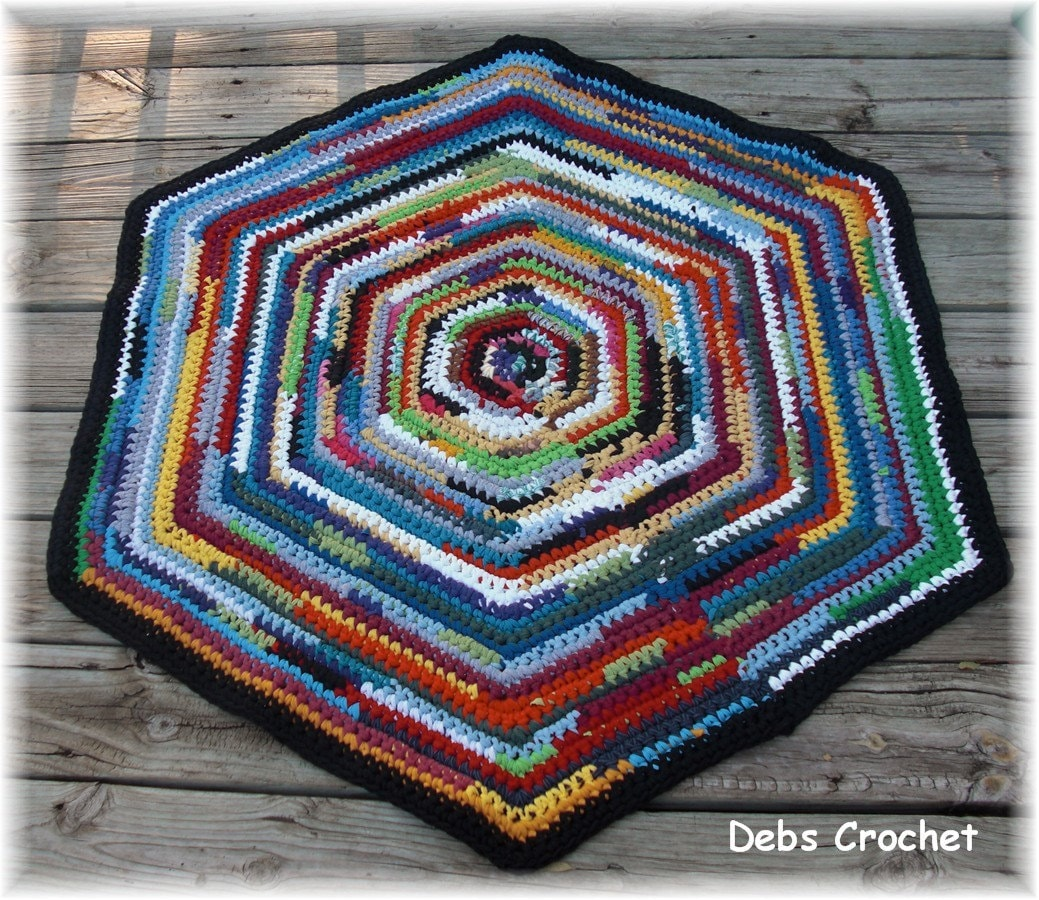Rag Rug Large: Multi Colored Hexagon Large Recycled Rag Rug 44 Inches