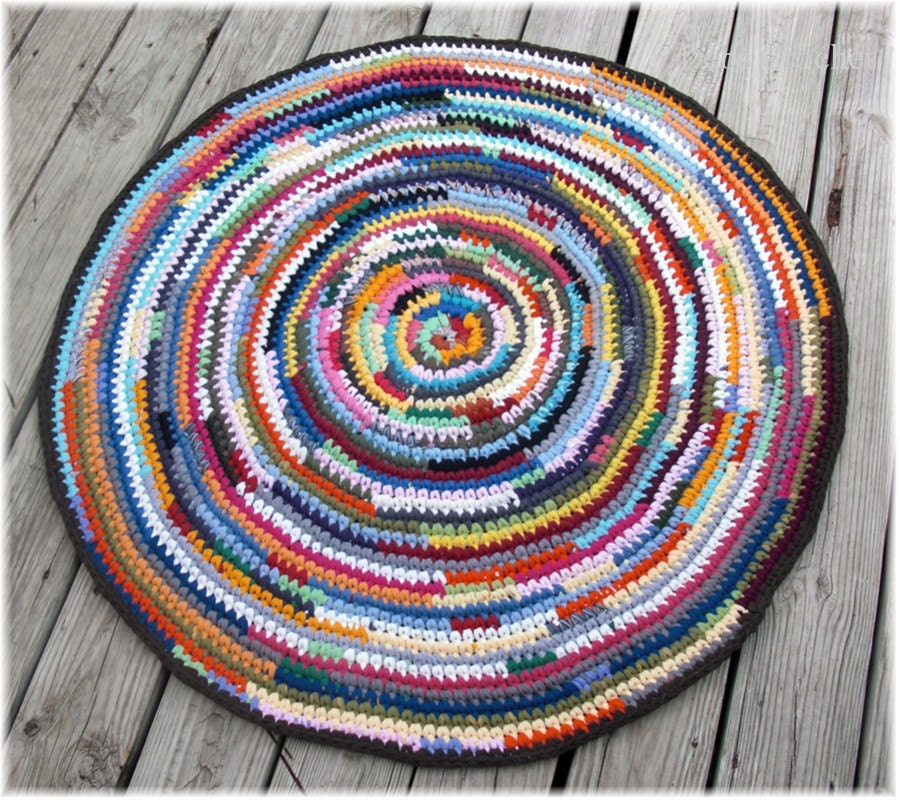 Round Rag Rug Black And White: Round Rag Rug Multi Color 39 Inches Brown Trim
