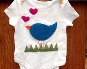 Sweet Tweet bird applique onesie 0 18 months
