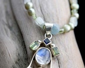 sterling silver pendant moonstone aventurine peridot gemstone necklace