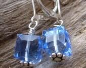 Pool - light blue cube swarovski crystal earrings