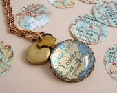 Map Necklace Vintage Atlas Pendant gold brass Locket Heart HOME custom