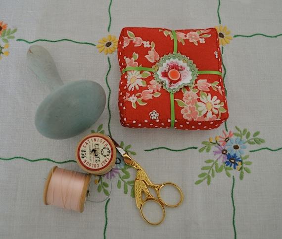 Dolly Mixture Pin Cushion - Crimson
