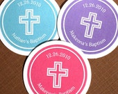 PRINTABLE Baptism Sticker Labels Tags with Cross - Personalized - you pick the color (design 2)