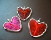 Sweetheart Valentines Day Thread Woven Pendant- Pink or Red. Heart Pendant Neckalace