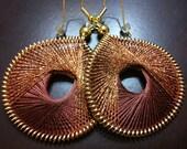 TAN LINES... Shimmering Bronze Thread Woven Earrings by Funky Lobez