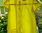 Vintage Baby Dress Sheer Cotton Lawn YELLOW