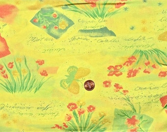 """Vintage Rayon Beach Graphic Fabric 2 colors yellow blue 60"""" x 1 yd plus"""