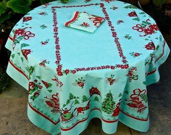 Vintage Mid Century Tablecloth xmas PARISIAN PRINTS