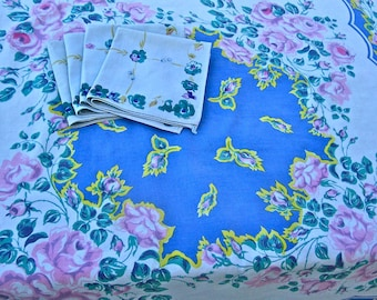 Vintage Mid Century Tablecloth 1940s Callaway Set with Napkins