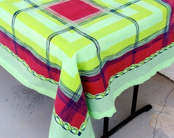 Vintage Tablecloth PARISIAN PRINTS funky plaid Lime