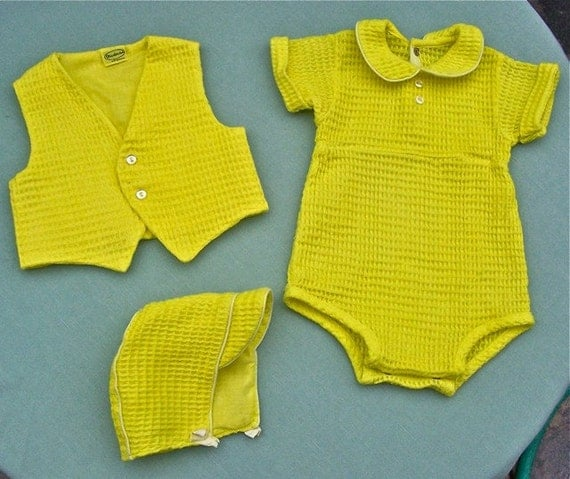 Vintage 1950s 3 Piece Waffle Cotton Baby Boy Outfit YELLOW