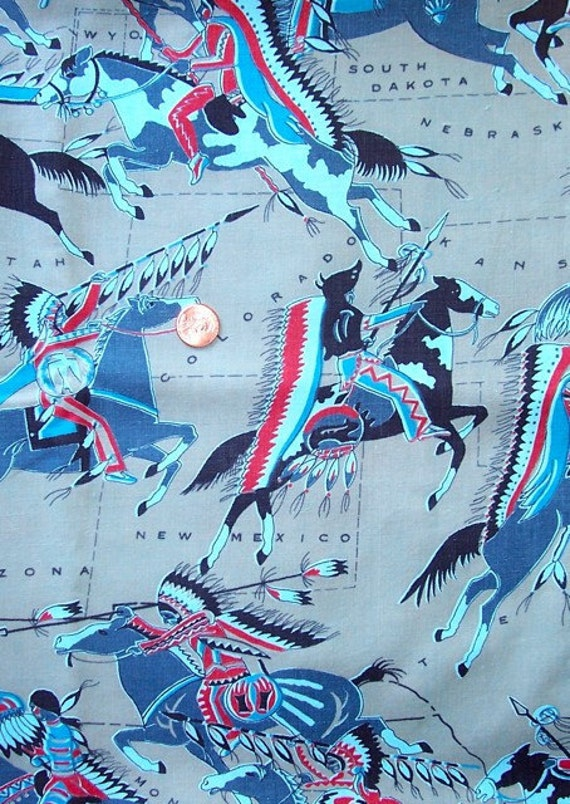 "Vintage Cotton Fabric 35"" x 1.5 yds Great Plains Map Native Americana Western"