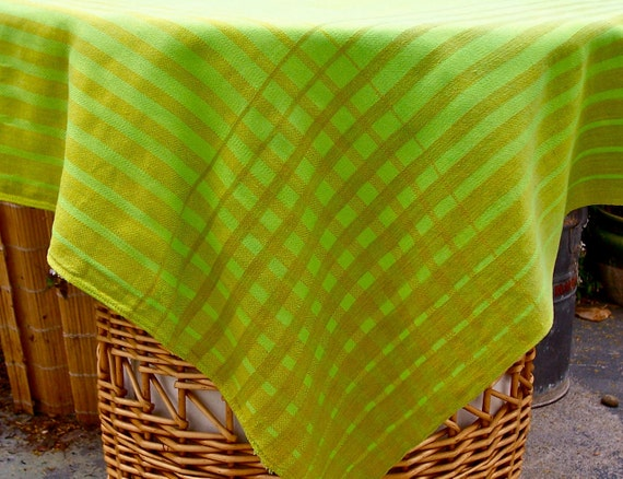 Vintage Mid Century Tablecloth Plaid Rayon Topper Napkins