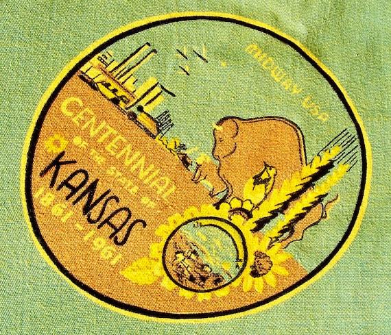 Vintage Kansas Tablecloth Souvenir Map Simtex 1961