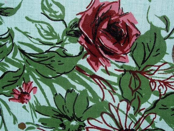 Vintage Mid Century Tablecloth Topper 50s Roses in Seafoam