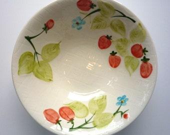 Hankook Bowl, Korean Dish, Fruit and Flower Motif Bowl, Fine Ivory, Oven Safe, Dishwasher Safe, Microwave Safe, Made in Korea,Retro Kitchen
