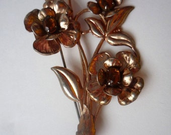 Sterling and Topaz Flower Pin, Copper Plate, Floral Bouquet, Large Vintage Brooch, Lightweight, Trio of Flowers, Copper Finish,Retro Jewelry