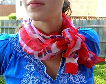 Mod Pattern Chiffon Scarf, Red Navy Pink White, Square Pattern, Neckerchief, 60s Style, Ladies Bandana,Geometric Scarf, Thin Light Neckwear