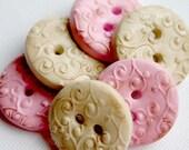 Emily  (handmade textured buttons set of 6)