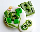 Lady Turtle (handmade buttons set of 3)