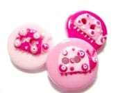 Pink Lady  (handmade buttons set of 3)