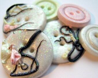 Enchanted Garden (handmade buttons set of 6)