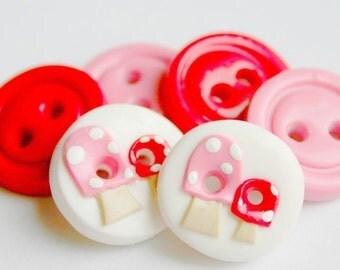 Baby Mushrooms (handmade buttons set of 6)