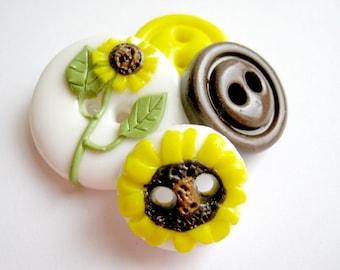Sunflowers (handmade buttons set of 4)