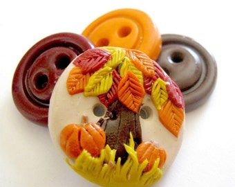 Autumn Orchard (handmade buttons set of 4)
