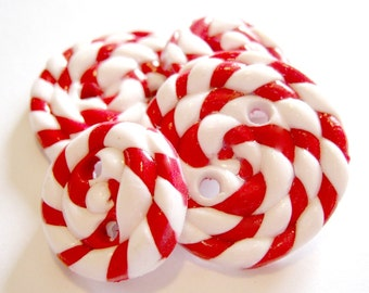 Peppermint Candy - You choose SIZE and 2 COLORS- handmade buttons set of 4