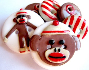 Sock Monkey (Buttons Set of 6)