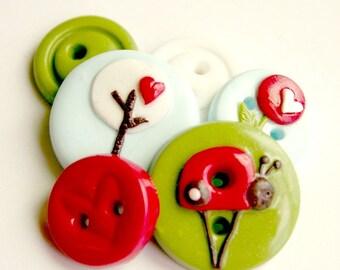 Garden Love (handmade buttons set of 6)