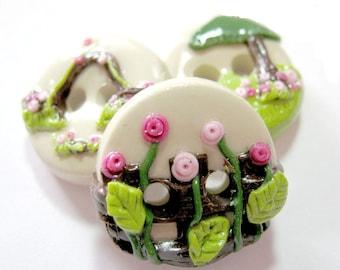 Grandmother's Garden (handmade buttons set of 3- 3/4 inch size)