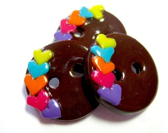 Chocolate Rainbow Hearts (set of 3)
