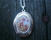 Woodland Locket Necklace With Cute  Deer and Raccoon