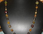 ON SALE Autumn Hues Fire Polished Czech Glass Beaded Brass Link Necklace