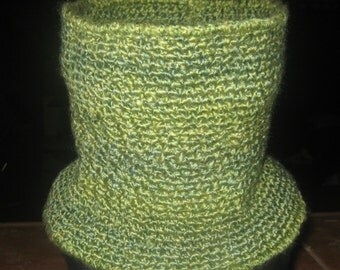 Gorgeous Green Hued Crochet Neck/Face Sweater