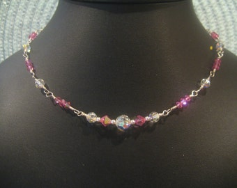 Sparkling Wire Wrapped Crystal Spring/Summer Necklace