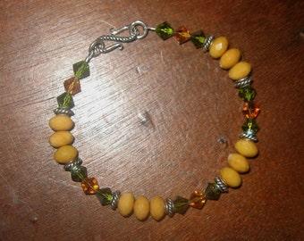 Sterling Silver, Crystal And Honey Quartzite Bracelet Boho