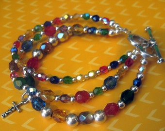 Sparkling Multi-Stranded & Colored Faith Expression Bracelet.