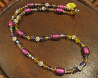 Multicolored Glass & Sterling Beaded Necklace