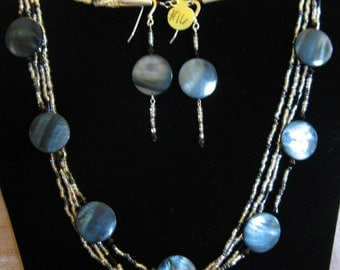 Silvery Moon Glass And Shell Beaded Sterling Silver Necklace And Earring Set