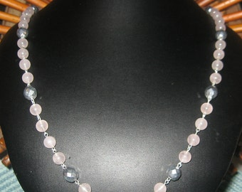 Rose Quartz And Czech Glass Beaded Long Silver Link Necklace