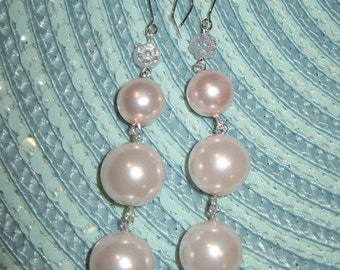 Sterling And Pastel Powder Pink Glass Pearl Dangling Earrings