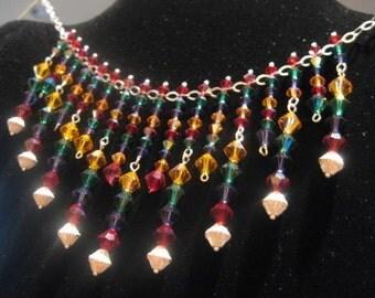 Dazzling Multicolored Swarovski Crystal Celebration Necklace