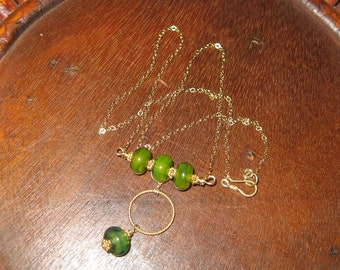 Wire Wrap Gold Filled & Handmade Green Lamp Work Glass Beaded Necklace
