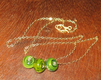 Simple Gold Filled And Green Handmade Lamp Work Beaded Necklace