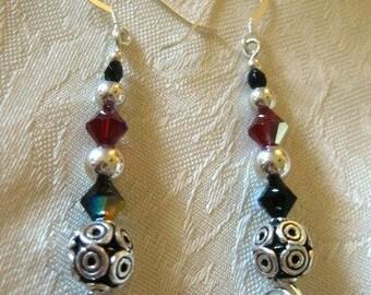 Bali And Sterling Silver, Swarovski Crystal Dangling Earrings